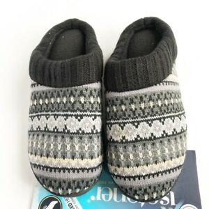 NEW Isotoner Womens Memory Foam Mule Clog Slippers Knit Sweater Pattern SM 6.5-7