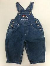 Vintage NFL Mighty Mac Denver Broncos Denim Overalls Size 12 Months