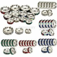 100PC 6/8/10mm Silver Plated Rondelle Clear Crystal Rhinestone Spacer Gems Beads