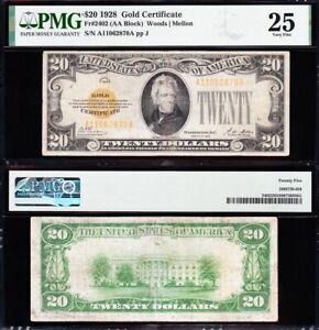 VERY NICE Bold & Crisp VF+ 1928 $20 GOLD CERTIFICATE! PMG 25! FREE SHIP! 62870A
