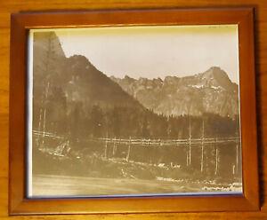 8 x 10 early suspension walking bridge cascade mountains w/picture frame vintage