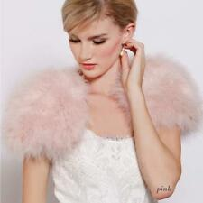 Real Ostrich Feather Bolero Furry Fur Sleelvess jacket Wraps Bridal Wedding Pink