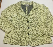 Andria Lieu Collection Fitted Jacket Yellow And Black Circles Woman's Large