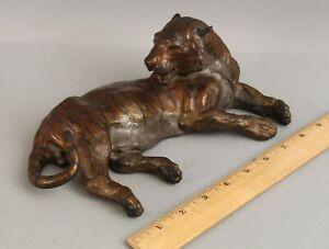 Vintage Authentic Signed 1993 W. H. Turner Bronze Art Sculpture Bengal Tiger NR!
