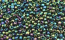 200 Green Iris Rainbow Matsuno #6 Glass Seed Beads