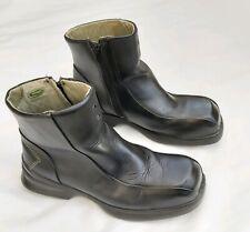 LAVORO BLACK LEATHER CHELSEA ANKLE BOOTS SAFTY / WORK STEEL TOE CAPS EU38 UK5