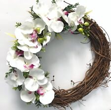 "Orchid Door Wreath Spring Summer Decor Handmade Floral Seasonal Design 18"" DIY"