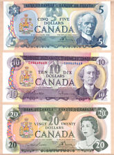 1971-79 Bank of Canada Multi Color 6 Note UNC Set:  $1, $2, $5 x 2, $10, $20