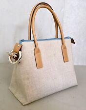 Sequoia Paris Textured Linen And Leather Classic Handbag. RARE!