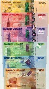 UGANDA SET 6 PCS 1000 2000 5000 10,000 - 50,000 SHILLINGS 2013 -2017 P 49-54 UNC