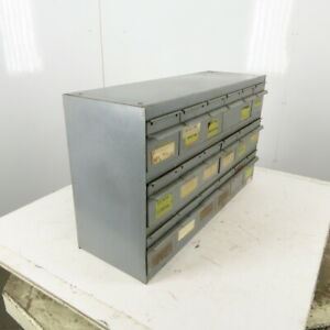 """Equipto 18 Drawer Industrial Metal Small Parts Cabinet 34-1/4""""W X11""""D X 19-1/2""""H"""