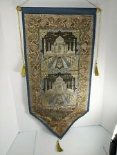 Taj mahal fabric wall hanging pocket letters holder embroidery collectable