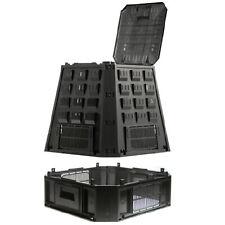Compostiera da giardino Compostaggio Plastica Nero 630L