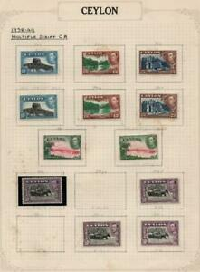 CEYLON: 1938-49 George VI Examples - Ex-Old Time Collection - Album Page (41005)