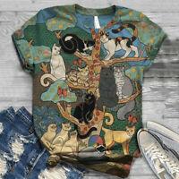 Plus Size Women Short Sleeve Cat Animal Printed O-Neck Tops Tee T-Shirt Blouse