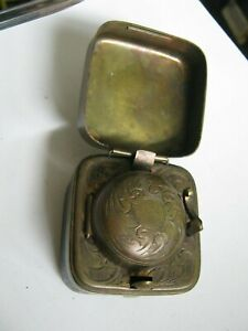 Victorian Brass & Black Leather Traveling Inkwell, Chased Interior Bottle Intact