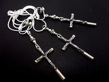 A TIBETAN SILVER  CROSS CRUCIFIX NECKLACE AND CLIP ON EARRING SET. NEW.