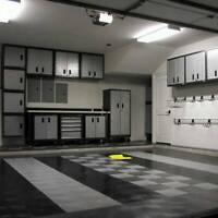 Motofloor Modular Garage Flooring Black White Tiles For