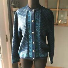 Pendleton Vintage Pure Wool Navy Blue Teal Gold Button Cardigan Sweater M MINT