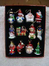 Set of 12 Miniature Glitter Christmas Tree Ornaments Santa Snowman Train Bear...
