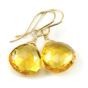 Citrine Earrings Yellow Facet Heart Teardrop Sim Simple Dangle 14k Gold Sterling