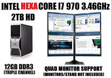DELL 4-MONITOR TRADING COMPUTER HEXA CORE I7-970 3.46GHz w/12G✓2TB✓WIN10 DESKTOP