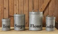 New Rustic Farmhouse GALVANIZED CANISTER SET Kitchen Flour Sugar Coffee Tea