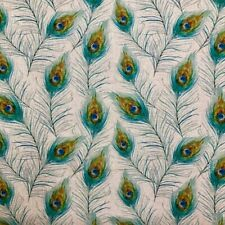 Peacock Feathers Poly Linen Fabric Crafting Material- Fat Quarters/ Metres