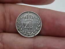 More details for 1898 victorian silver maundy 4 pence 4d silver coin - nice detail