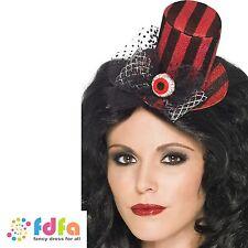 LADIES BLACK & RED STRIPED MINI TOP HAT ON HEADBAND ladies fancy dress costume