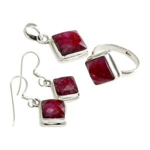 Natural Ruby Ring Earring Pendant Set 925 Sterling Silver Jewelry RS35
