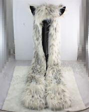 Snow Leopard Full Hood Faux Fur Hat with scarfs mittens & paws Spirit 3 in 1 USA