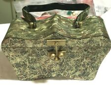 Rare Shaped Myles Original Green Pearl Vintage Lucite Purse Gold Threads 50's