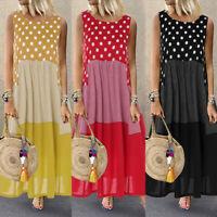 ZANZEA Women Sleeveless Polka Dot Casual Long Shirt Dress Patchwork Maxi Dress