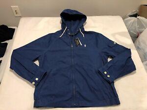 NWT $149.99 Polo Ralph Lauren Mens Waimea Hooded Canvas Jacket Blue Size LARGE
