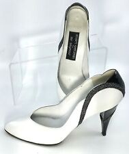Stuart Weitzman Mr. Seymour Pump Womens 9.5B White Black Leather Slip Heel Spain