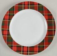 "Set of 4 Pottery Barn CARSON PLAID RIM 10-1/2"" Dinner Plates"