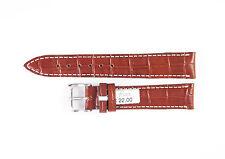 "FLUCO Genuine Cow Leather Alligator Grain 18 mm BROWN Watch Band ""DA VINCI"""