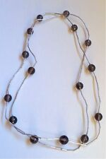 """Sterling Liquid Silver Smokey Topaz Beads Long Station Necklace 40"""""""