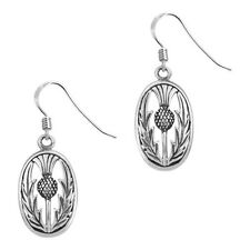 SCOTTISH THISTLE SILVER OVAL EARRINGS 0537