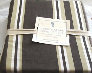 Pottery Barn Kids Twin Duvet Cover Varsity Stripe Chocolate Brown Beige  NIP
