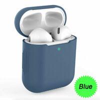 Custodia Cover Auricolari Silicone Tpu per Apple Airpods Generazione 1/2  Blu