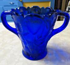 Gorgeous Dark Cobalt Blue Glass Vase 2 Handles Strawberry Pattern