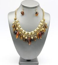 Amber Looking Tribal Bohemian Beads Collar Necklace Set - Unique