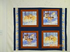 """WOLF PACK  Pillow panels  or  Quilt Blocks  FOUR   16"""" BLOCKS ONE YARD CUT MDG"""
