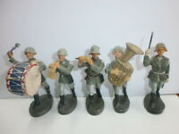 Konvolut 5 alte Hausser Elastolin Massesoldaten zu 7.5cm Musiker Musikkapelle