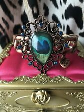 Betsey Johnson Vintage Moroccan Morocco Adventure Peacock Blue Jewel Bracelet