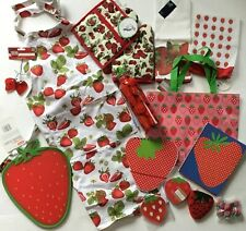 Huge lot New Strawberry Themed kitchenware housewares and more! Apron towels etc