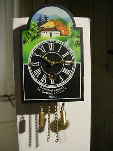 VINTAGE 1989 LIMITED EDITION SUBURBAN CLOCK CO BLACK FOREST MINIATURE WALL CLOCK