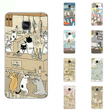For Samsung Galaxy Note A5 A7 2016 Cell Case Soft TPU Phone Back Cover Cats Play